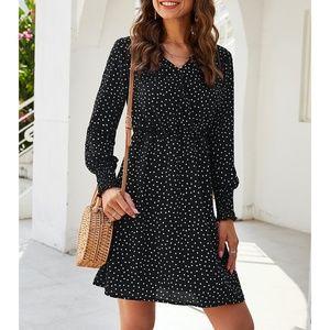 Black Polka Dots Ruffle Fit & Flare Mini Dress